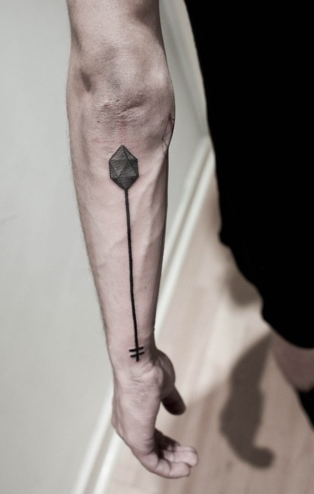 Long Thin Arrow Tattoo On Arm