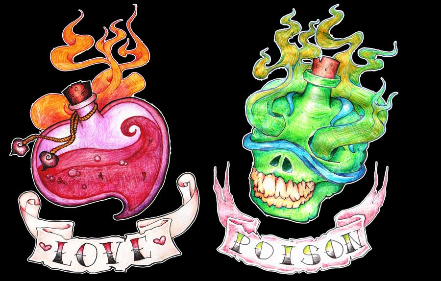 Love And Poison Bottles Tattoo Designs