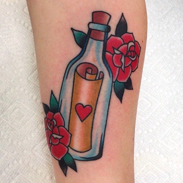 Love Message In Bottle Tattoo (3)