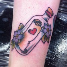 Love Message In Bottle Tattoo