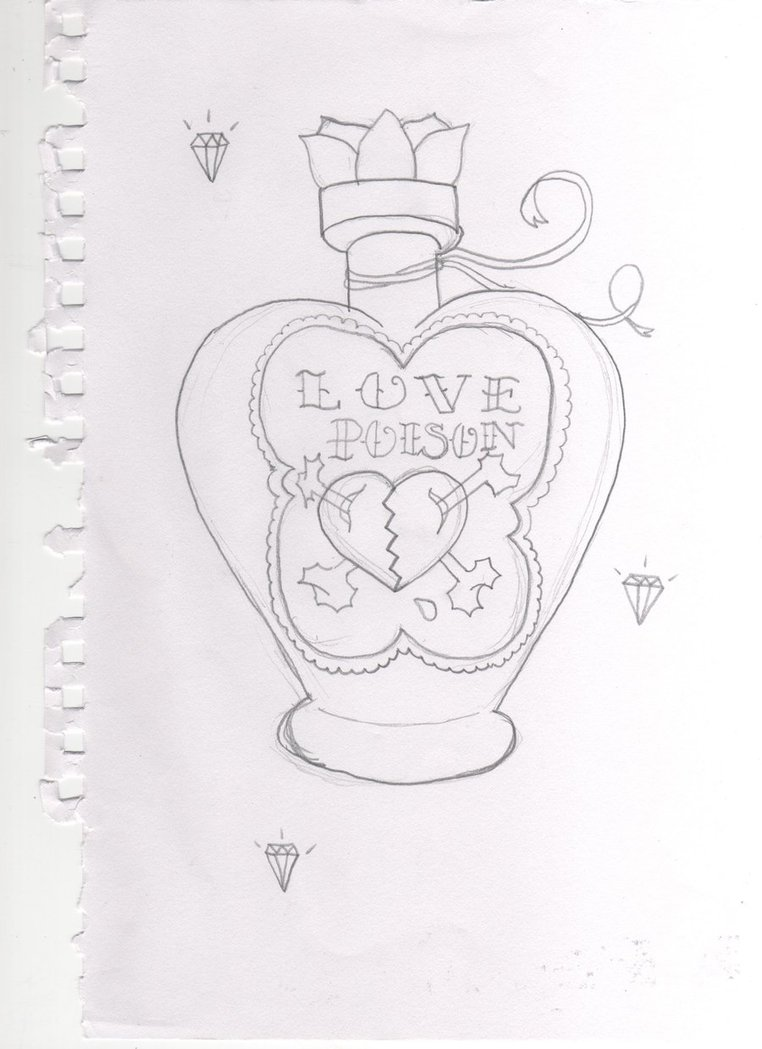 Love Poison Bottle Tattoo Drawing