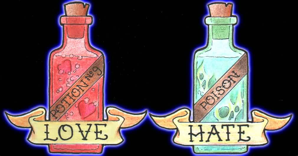 Love Potion Poison Bottle Tattoo Designs