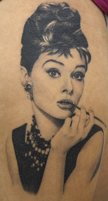 Lovely Audrey Hepburn Portrait Tattoo