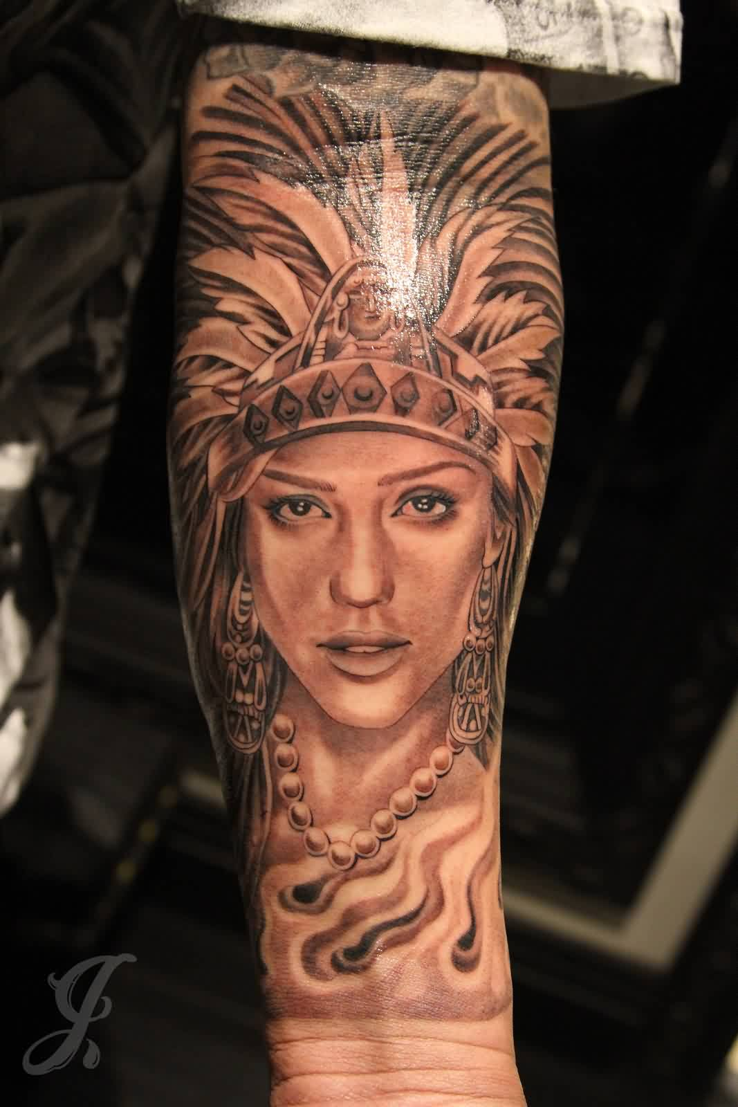 Lovely Aztec Queen Tattoo On Forearm