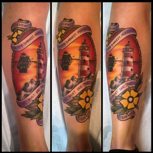 Lovely Banner Lighthouse And Yellow Flower Tattoos