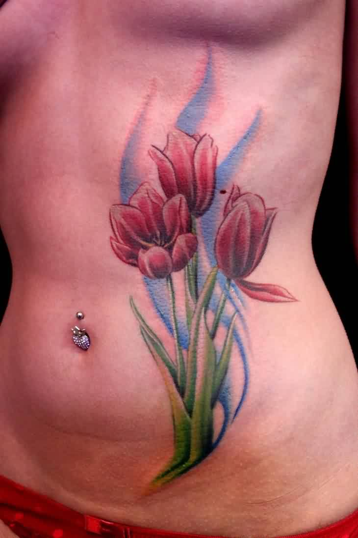 Lovely Belly Button Piercing And Tulips Tattoo
