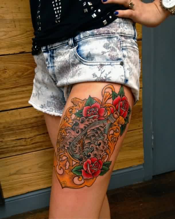 Lovely Bottle Flowers And Wave Tattoos On Thigh