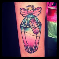 Lovely Bottle With Bow Tattoo