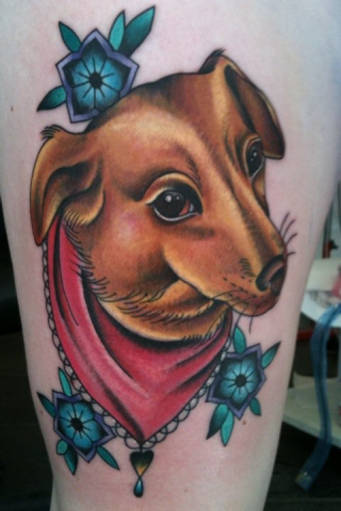 Lovely Brown Animal And Flower Tattoos