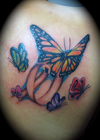 Lovely Butterflies And Ribbon Tattoos