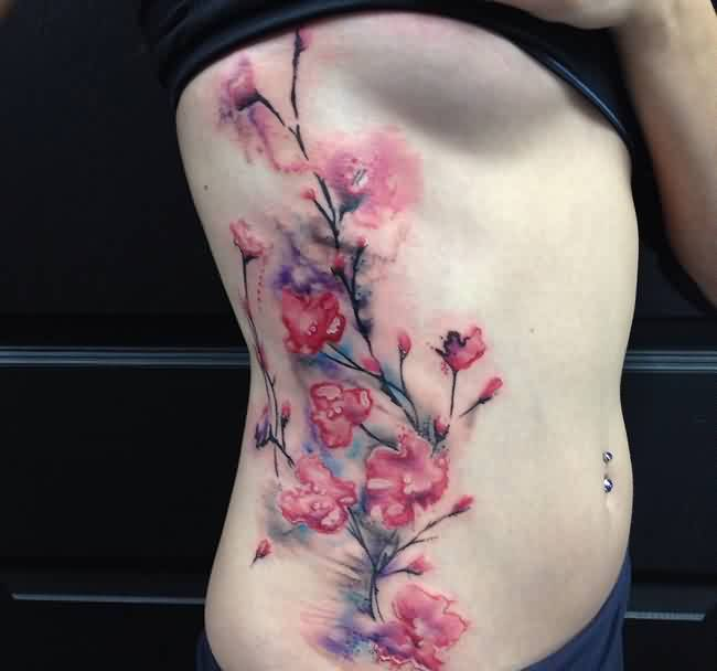 Lovely Cherry Blossom Watercolor Tattoo On Ribs