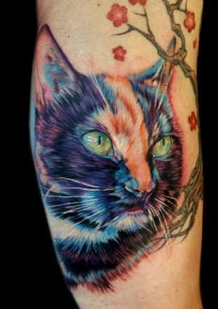 Lovely Color Cat Tattoo