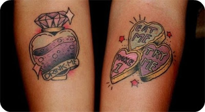 Lovely Diamond Bottle And Heart Tattoos