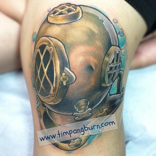 Lovely Diving Helmet Tattoo
