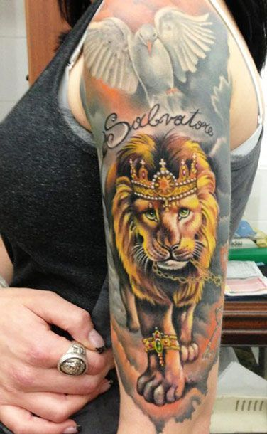 Lovely Dove And King Lion Tattoos On Sleeve