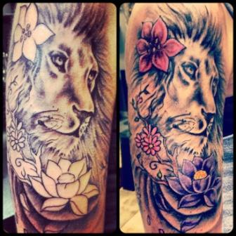 Lovely Flowers And Dog Tattoos On Sleeve