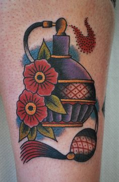 Lovely Flowers And Perfume Bottle Tattoos