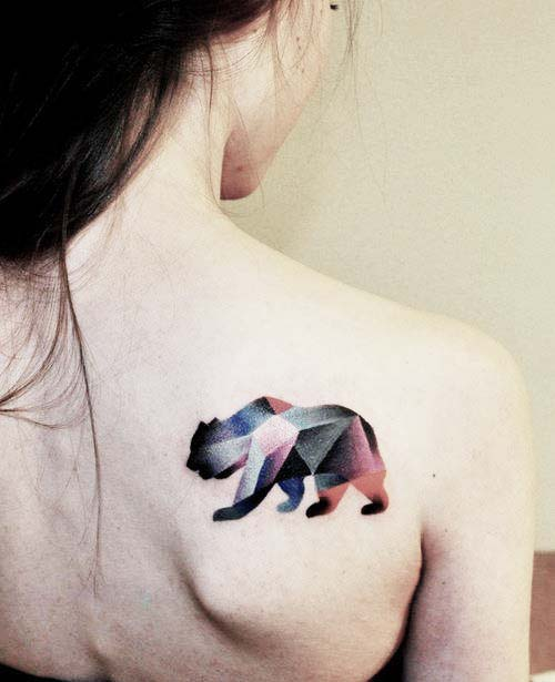 Lovely Geometric Walking Animal Tattoo