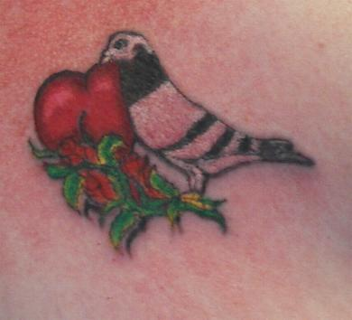 Lovely Heart Leaves And Pigeon Tattoo