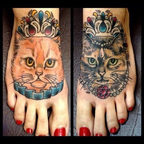 Lovely King And Queen Watercolor Tattoos On Feet For Girls