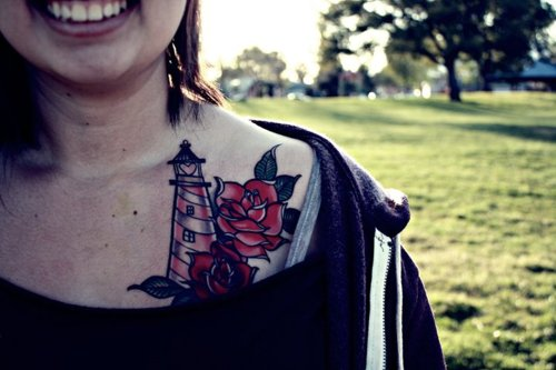 Lovely Love Lighthouse And Rose Tattoos On Collarbone