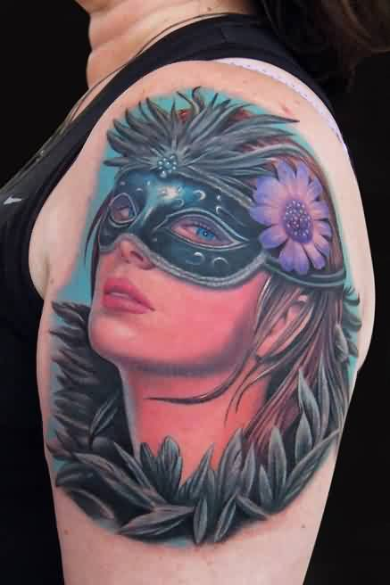 Lovely Masquerade Masked Girl Portrait Tattoo