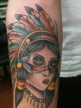 Lovely Native American Girl Tattoo
