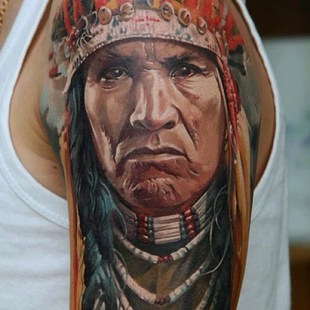 Lovely Native American Portrait Tattoo On Arm