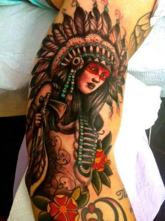Lovely Native American Woman Tattoo On Arm