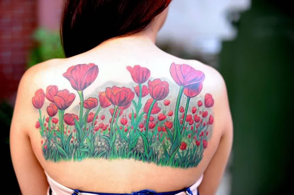 Lovely Nature Tulip Flower Tattoos On Upperback