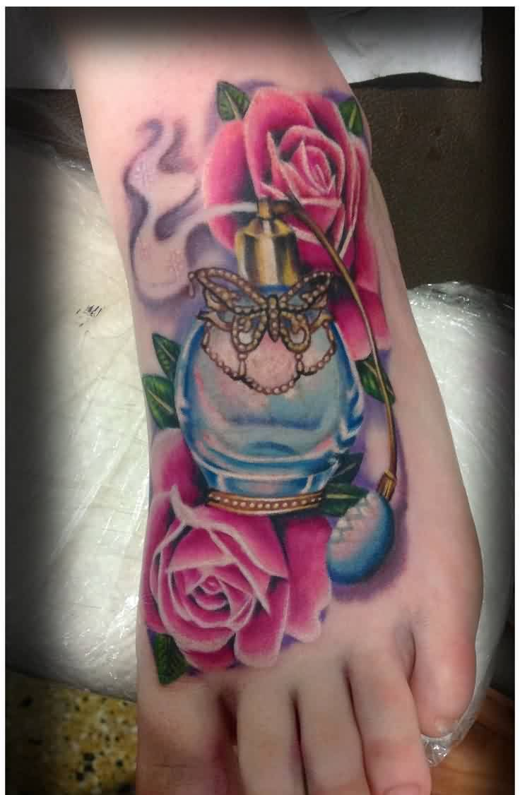 Lovely Perfume Bottle Tattoo With Flowers On Foot