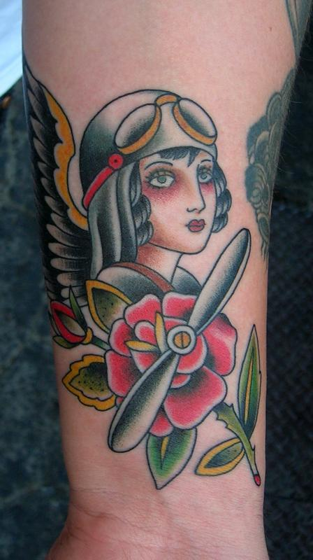 Lovely Pilot Girl Wearing Helmet Tattoo