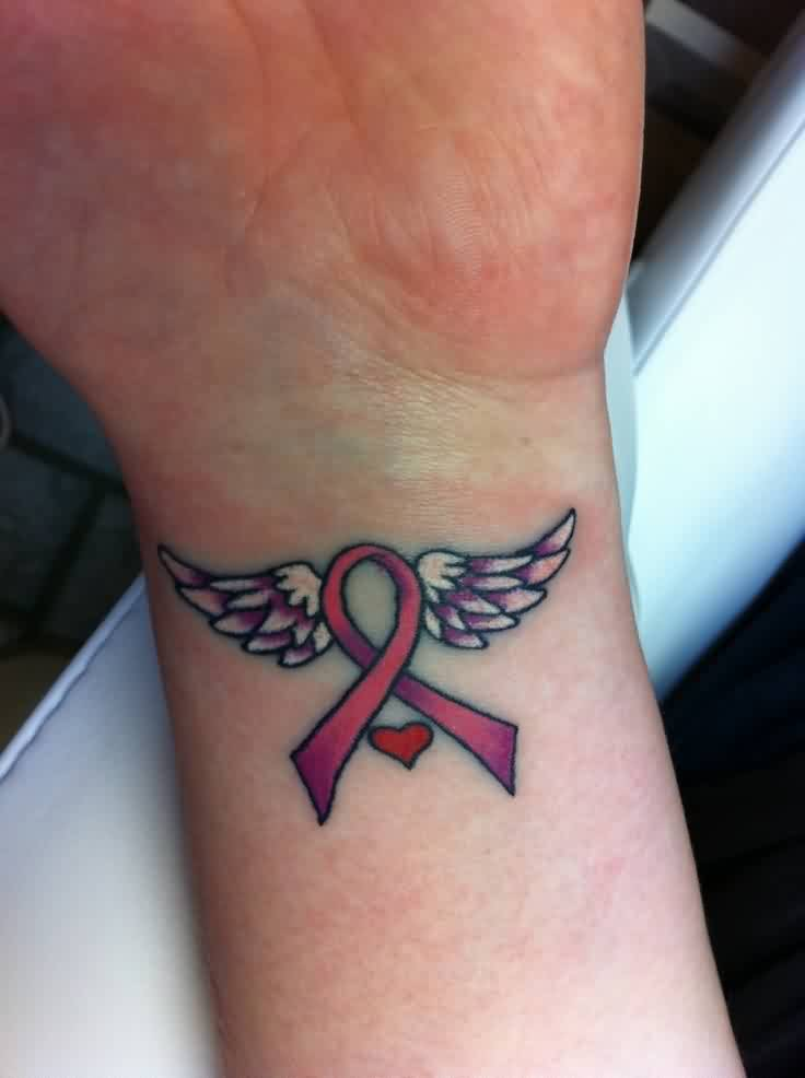Lovely Pink Cancer Ribbon With Wings Tattoo On Wrist