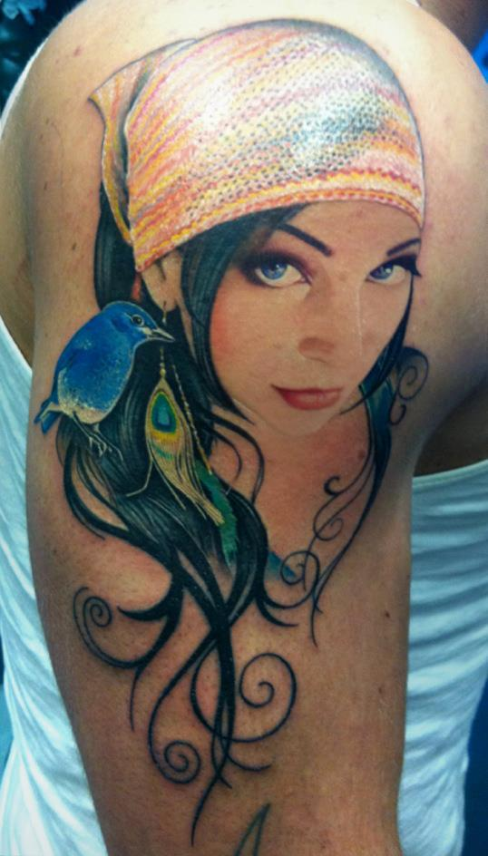 Lovely Portrait Tattoo On Shoulder