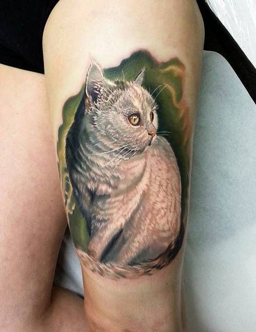 Lovely Realistic White Cat Tattoo
