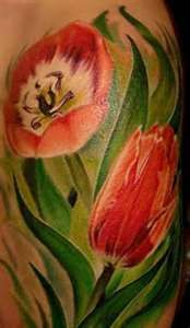 Lovely Red Tulip Tattoos