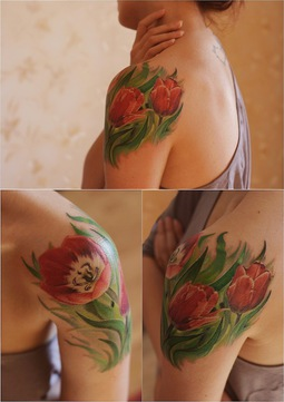 Lovely Red Tulips Shoulder Tattoo
