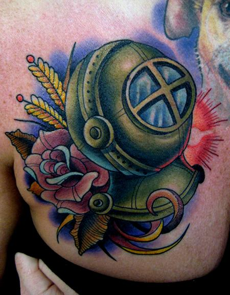 Lovely Rose And Dive Helmet Tattoos