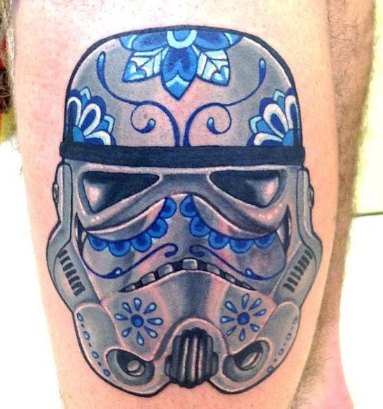 Lovely Stormtrooper Helmet Sugar Skull Tattoo