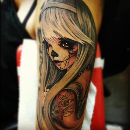 Lovely Sugar Skull Girl Portrait Tattoo On Arm