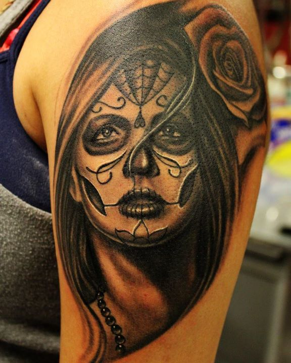 Lovely Sugar Skull Girl Portrait Tattoo On Shoulder