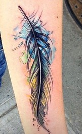 Lovely Watercolor Feather Tattoo On Forearm