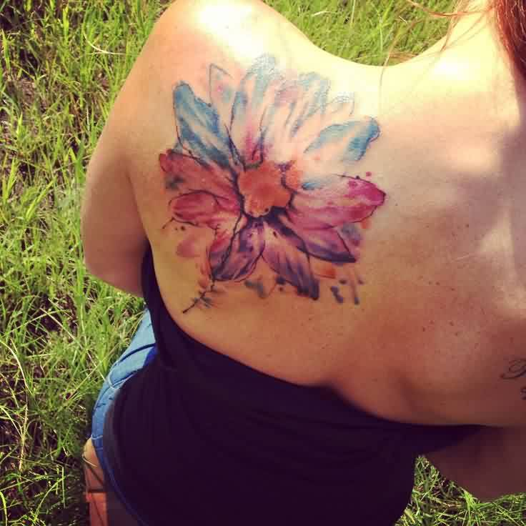 Lovely Watercolor Flower Tattoo On Back Of Shoulder