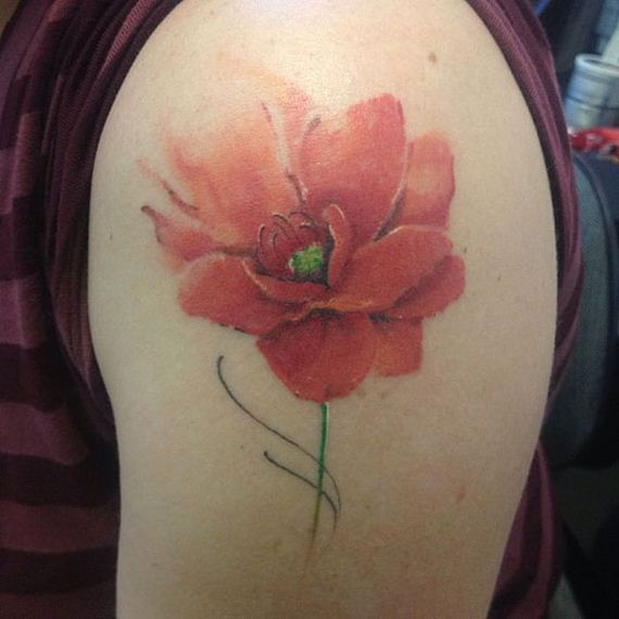 Lovely Watercolor Flower Tattoo On Shoulder