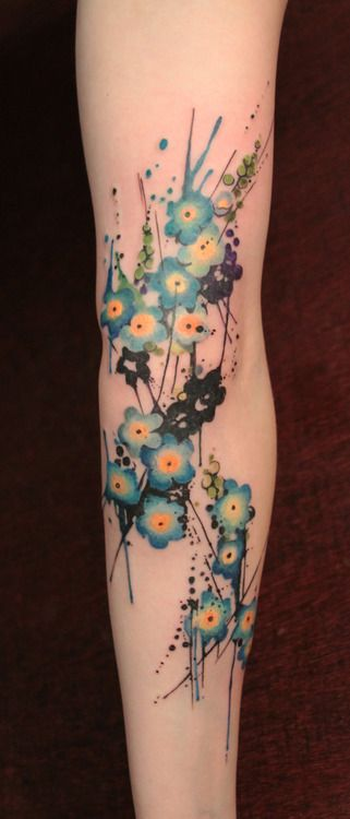 Lovely Watercolor Tattoos On Arm