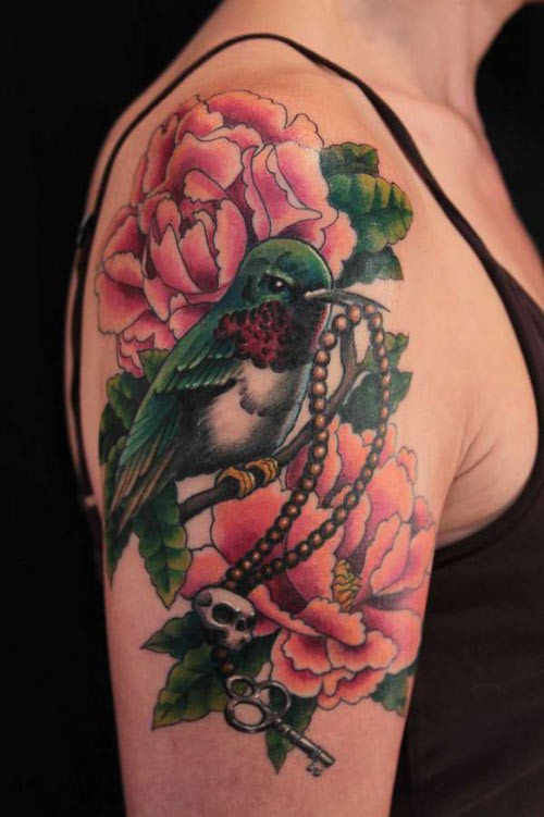 Lovely Watercolor Tattoos On Upper Arm