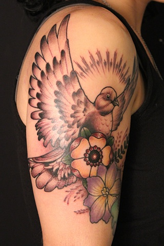 Lovely White Pigeon And Flower Tattoos On Biceps