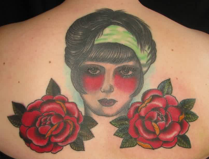 Lovely Woman Face Portrait And Roses Tattoos On Back