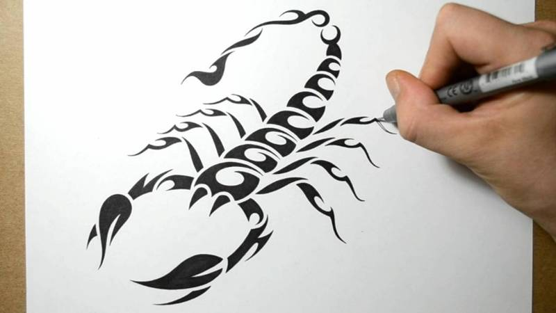 Making Tribal Scorpion Tattoo Design On White Page