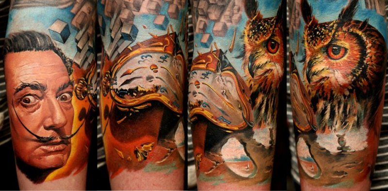 Man Clock And Owl Portrait Tattoos